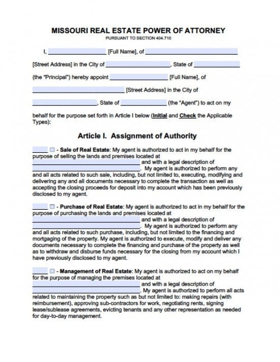 Missouri Real Estate ONLY Power of Attorney Form