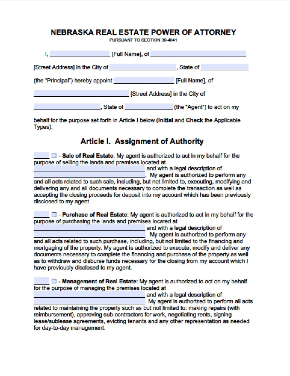 Nebraska Real Estate ONLY Power of Attorney Form - Power of ...