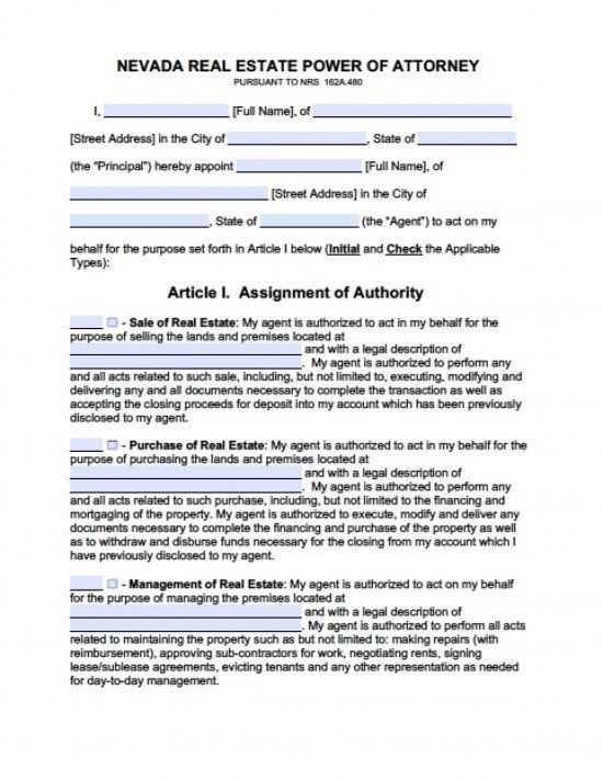 Nevada Real Estate ONLY Power of Attorney Form