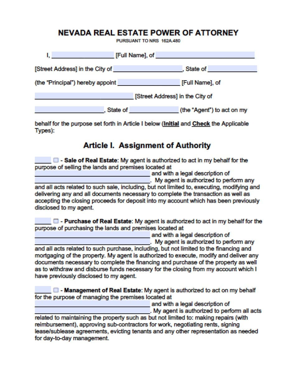 Nevada Real Estate ONLY Power of Attorney Form - Power of Attorney ...