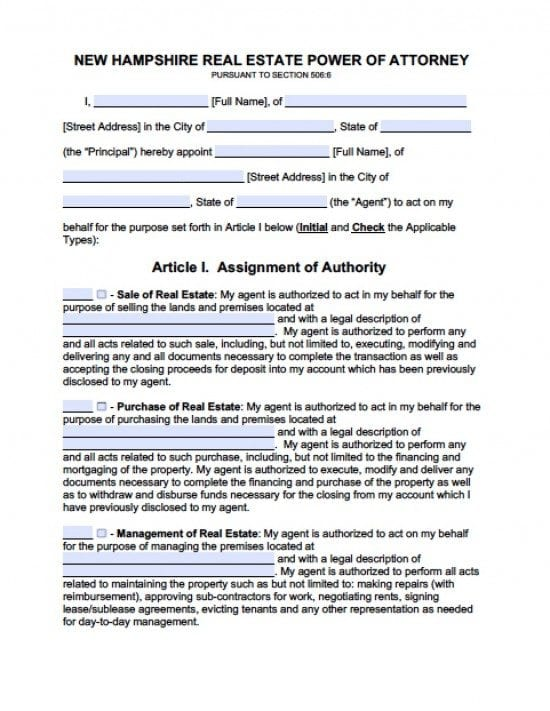 New Hampshire Real Estate ONLY Power of Attorney Form