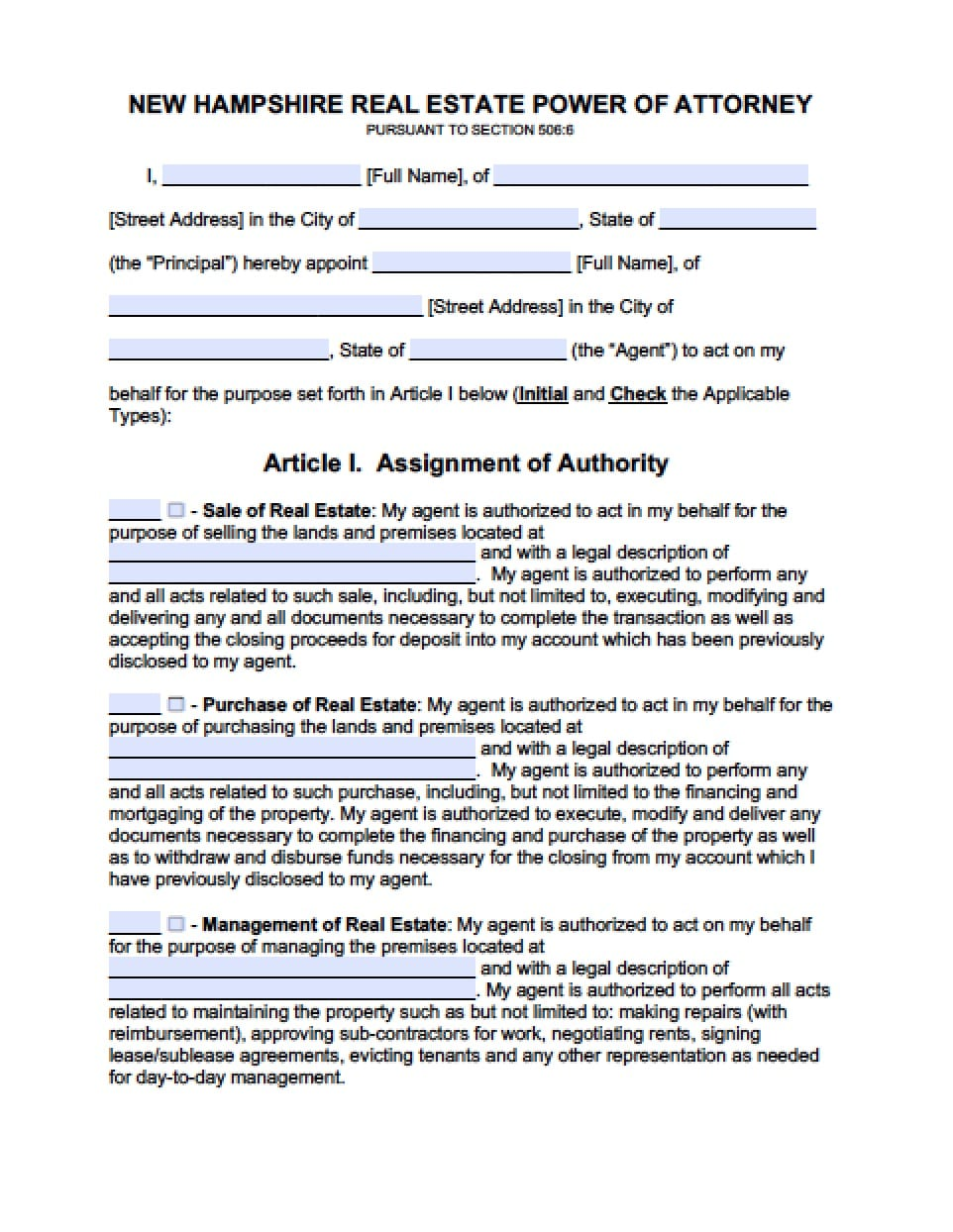 New Hampshire Real Estate ONLY Power Of Attorney Form   Power Of Attorney : Power  Of Attorney