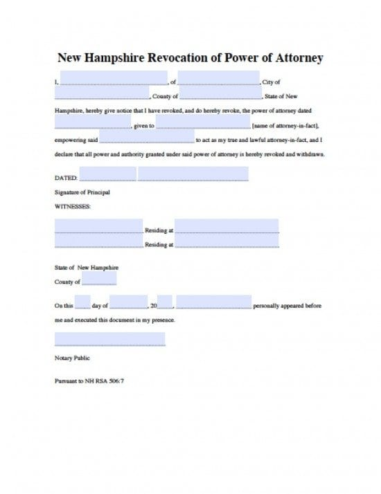 New Hampshire Revocation Power of Attorney Form