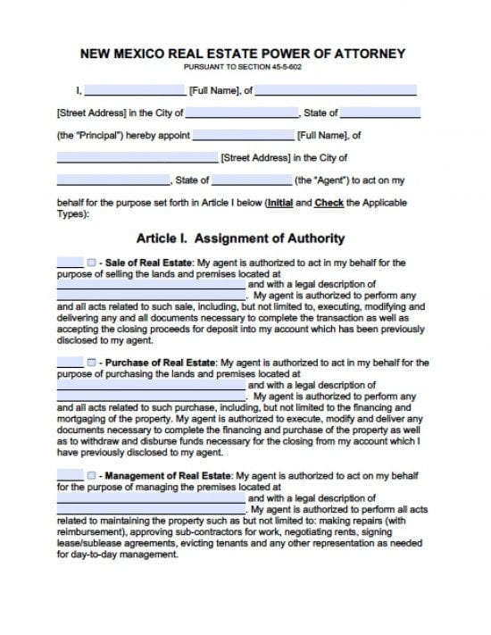 New Mexico Real Estate ONLY Power of Attorney Form