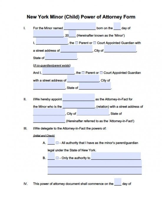 New York Minor Child Power Of Attorney Form Power Of Attorney