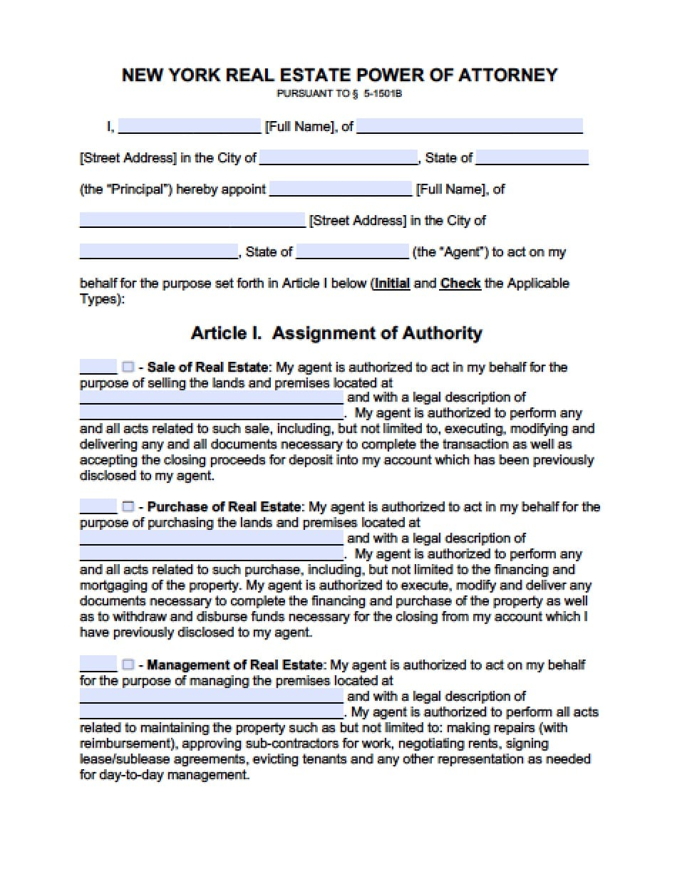 fillable power of attorney form ny  New York Real Estate ONLY Power of Attorney Form - Power of ...