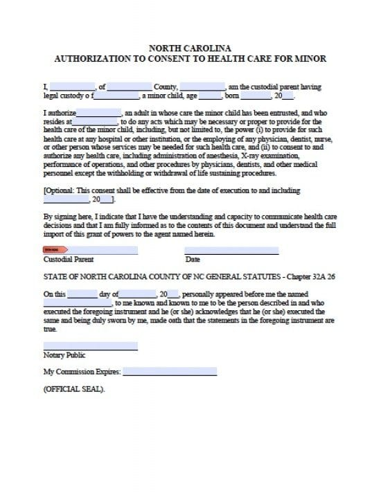 North Carolina Minor Child Power of Attorney Form