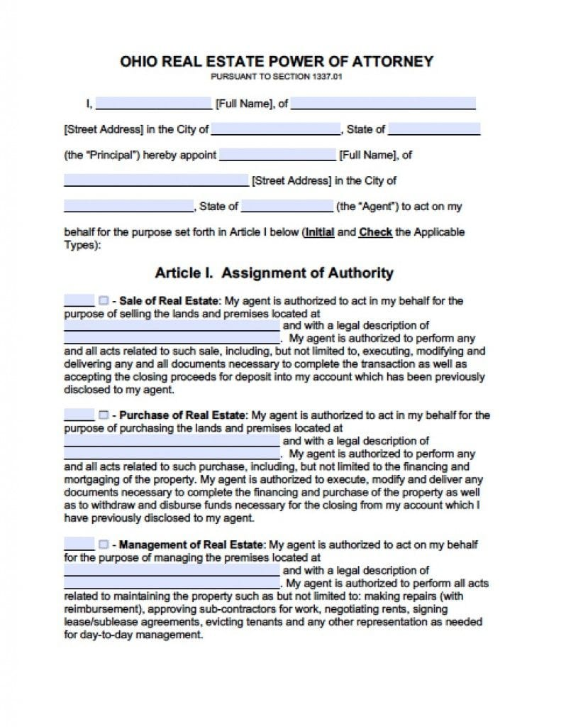 Ohio Real Estate ONLY Power of Attorney Form - Power of Attorney ...