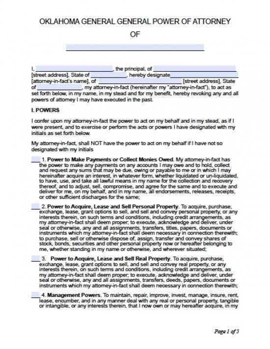 Oklahoma General Financial Power of Attorney Form
