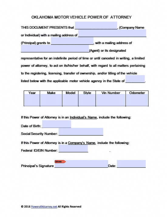 Oklahoma Vehicle Power of Attorney Form