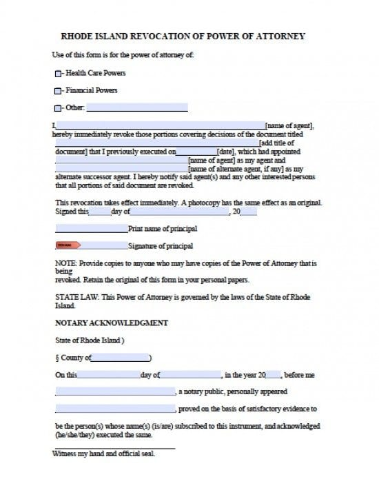 Rhode Island Revocation Power of Attorney Form