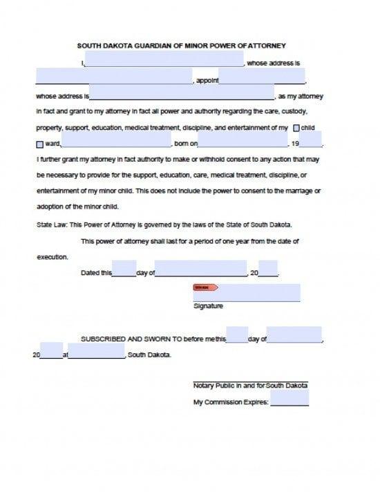 South Dakota Minor Child Power of Attorney Form