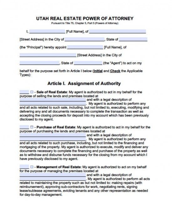 Utah Real Estate ONLY Power of Attorney Form