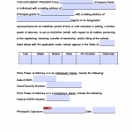 Vermont Vehicle Power of Attorney Form