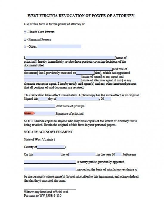 West Virginia Revocation Power Of Attorney Form Power Of Attorney