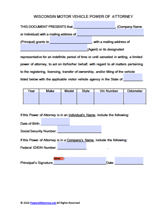 Wisconsin Vehicle Power of Attorney Form