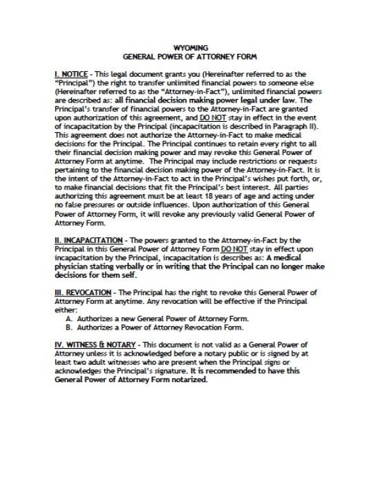 Wyoming General Financial Power of Attorney Form