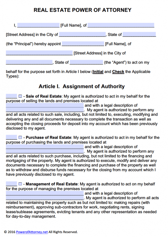 Real estate power of attorney form pdf templates power for Full power of attorney template
