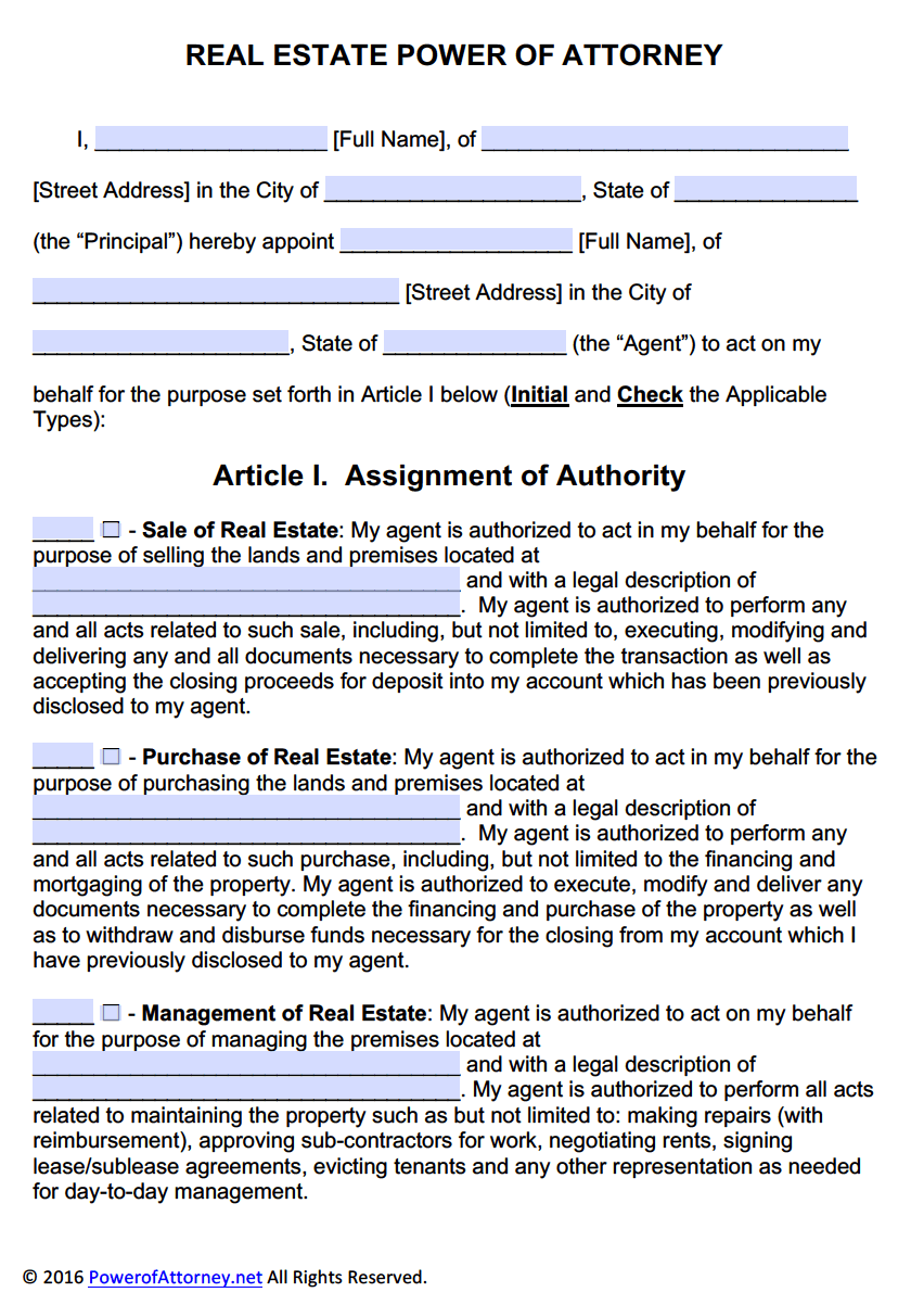 real estate power of attorney form