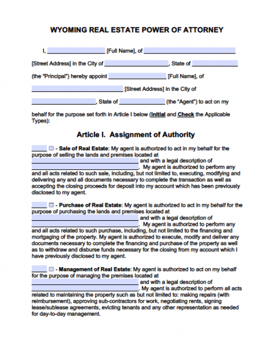 Wyoming Real Estate ONLY Power of Attorney Form