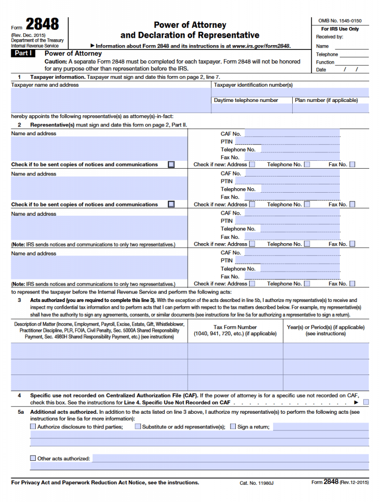 Free power of attorney templates in fillable pdf format power of irs form 2848 falaconquin