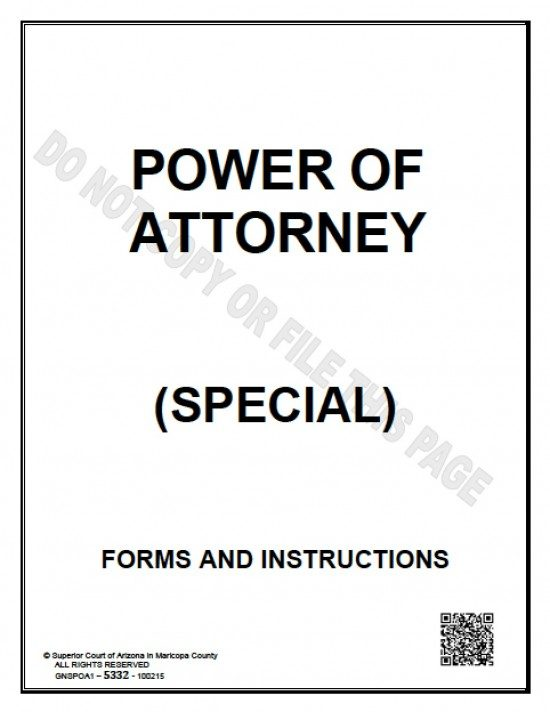 Arizona Limited Special Power Of Attorney Form  Power Of Attorney