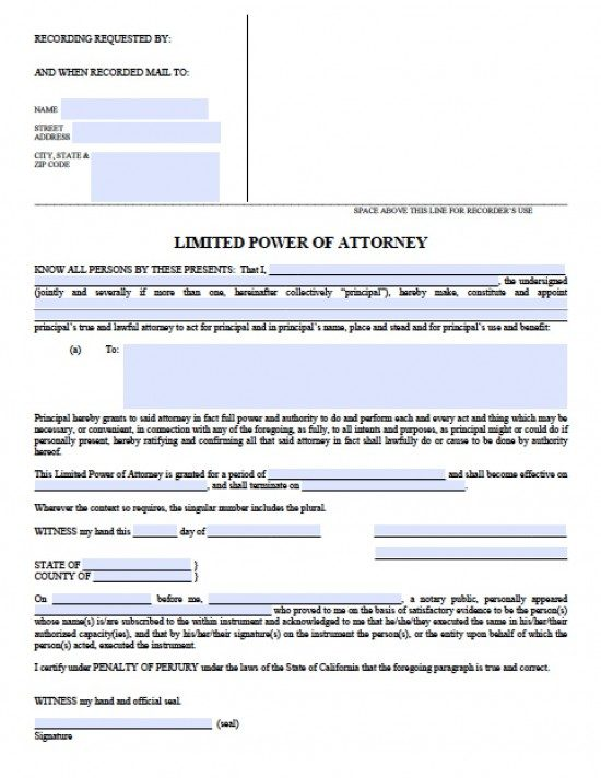 California Limited Special Power Of Attorney Form Power Of