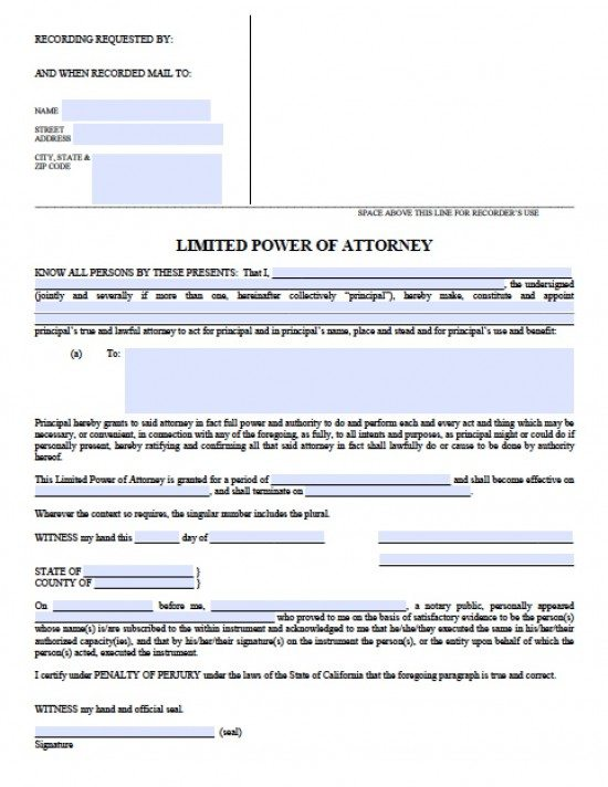 California Limited (Special) Power of Attorney Form - Power of ...