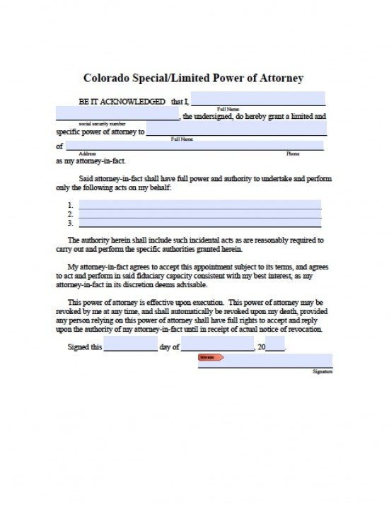 Colorado Limited Special Power Of Attorney Form  Power Of