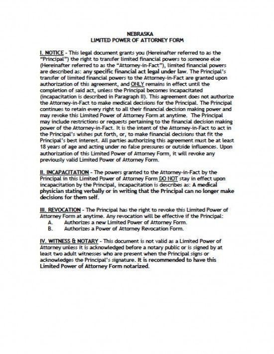 Nebraska Limited Special Power Of Attorney Form Power Of