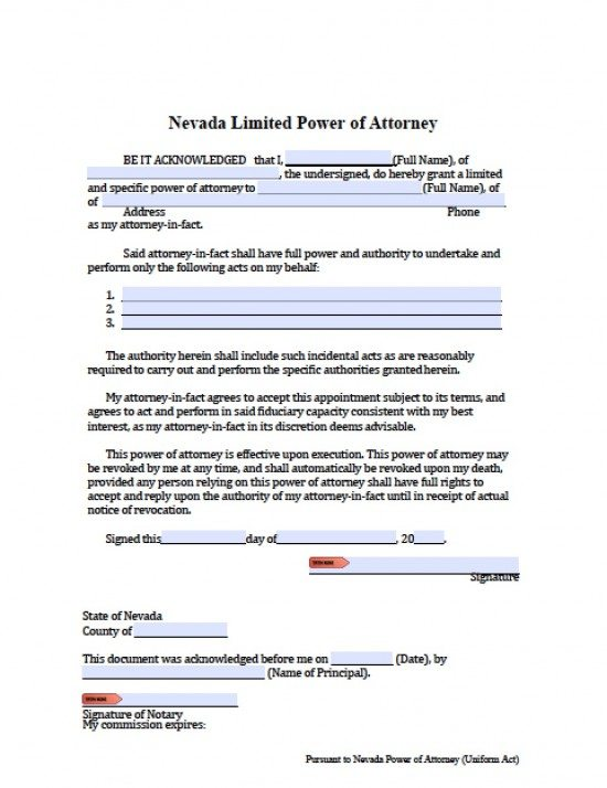 Nevada Limited (Special) Power of Attorney Form - Power of ...