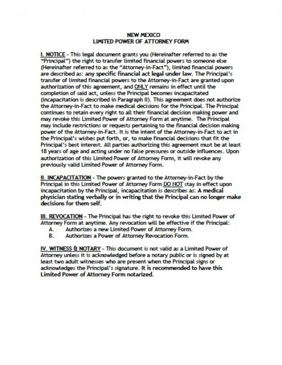 New Mexico Limited Special Power Of Attorney Form Power Of
