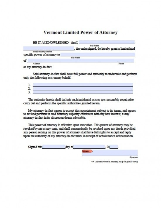 Vermont Limited Special Power Of Attorney Form  Power Of Attorney